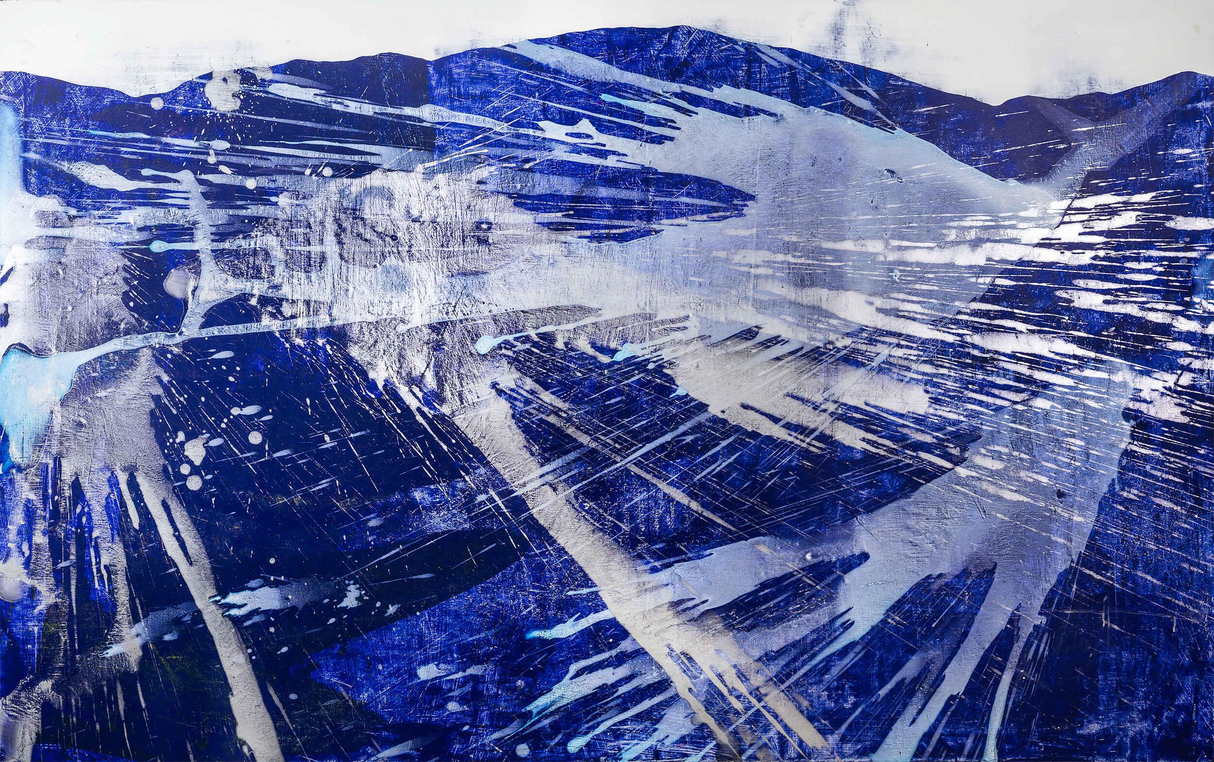 Yr Hen Ogledd (40 x 66 inches acrylic on mdf 2019)